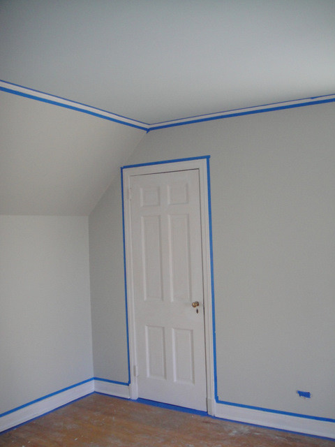 Once We Finished Painting The Trim In Benjamin Moore S Snow White Semi Gloss Waited Until Paint Was Completely Dry Before Removing Tape
